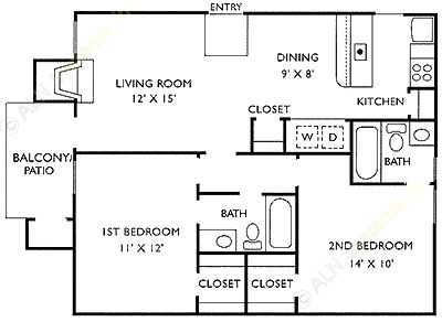864 sq. ft. D floor plan