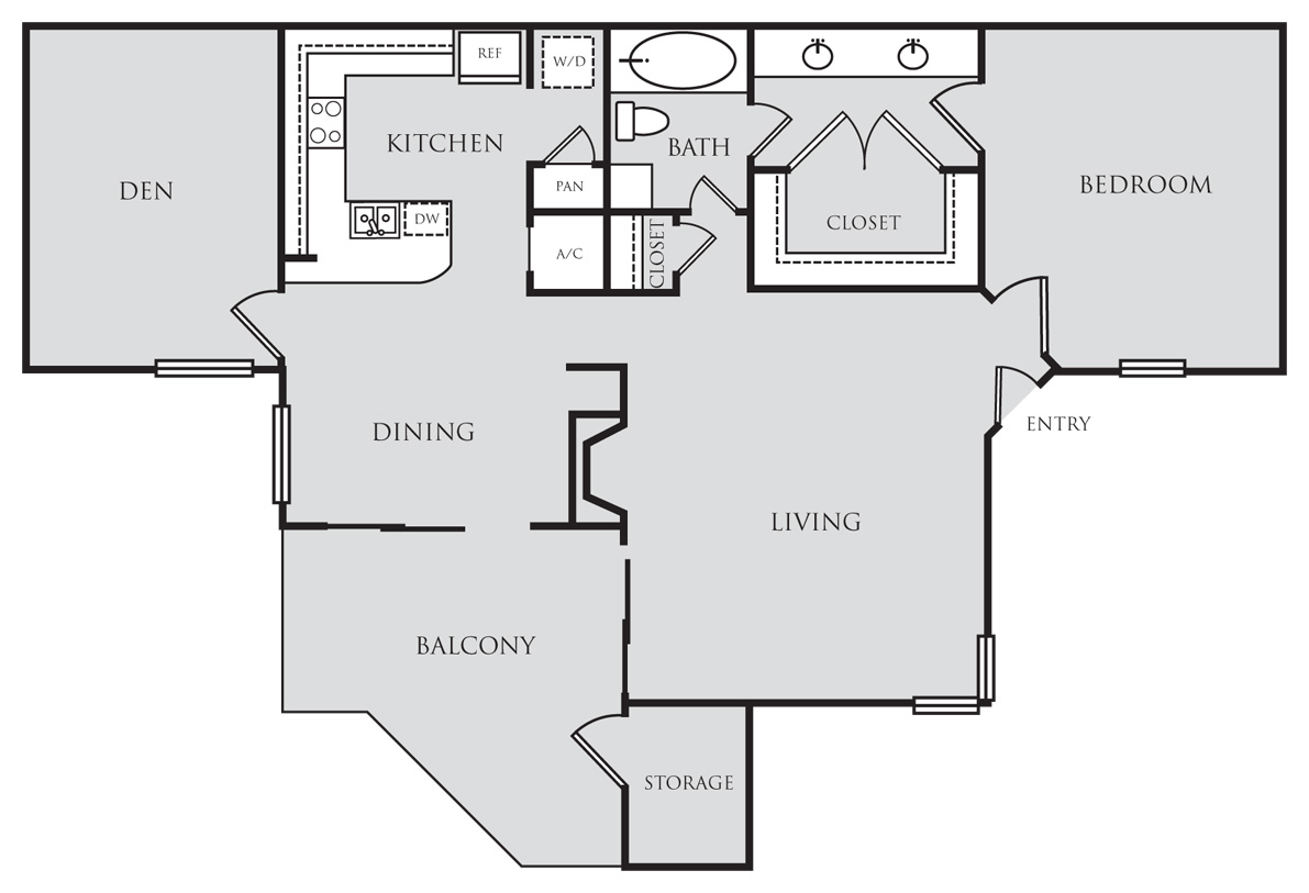 975 sq. ft. A7D floor plan