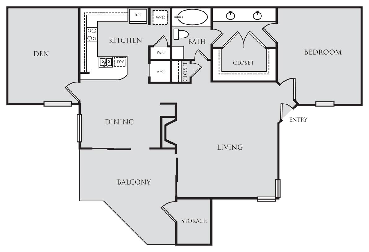 975 sq. ft. A7D floor plan