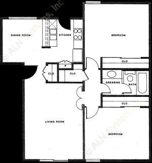 872 sq. ft. B-1 floor plan