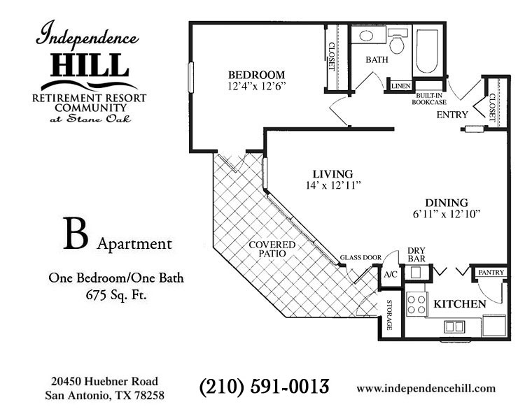 675 sq. ft. B floor plan
