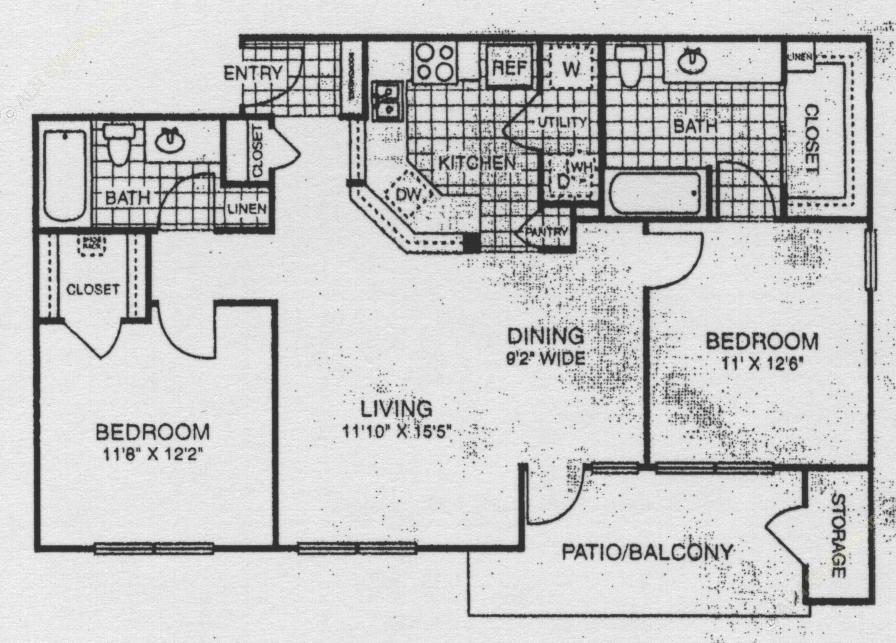 1,008 sq. ft. 60% floor plan