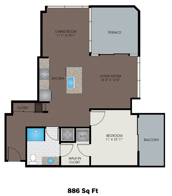 861 sq. ft. to 886 sq. ft. F/F1 floor plan
