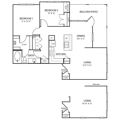 971 sq. ft. to 992 sq. ft. Marseille floor plan