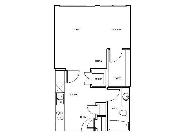 526 sq. ft. E1-M floor plan