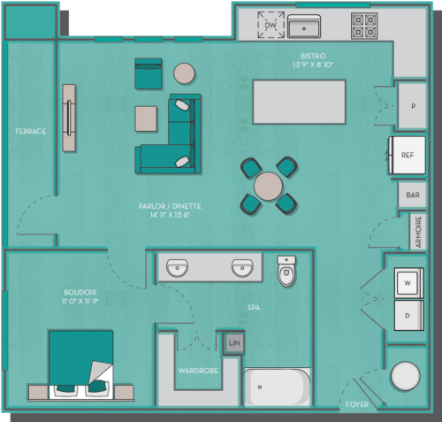 925 sq. ft. Bahamas floor plan