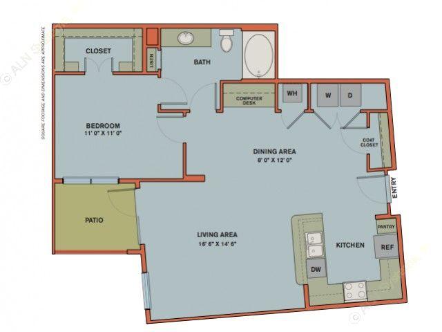 931 sq. ft. A12.3 floor plan