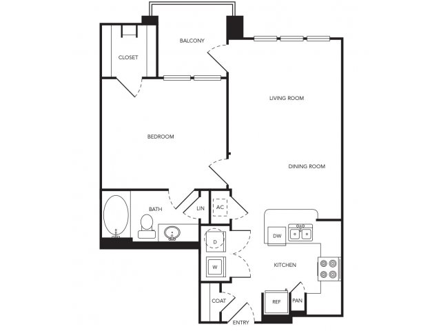 742 sq. ft. A8 floor plan