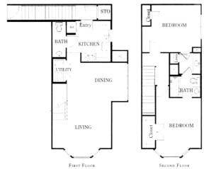 1,178 sq. ft. B2B/60% floor plan