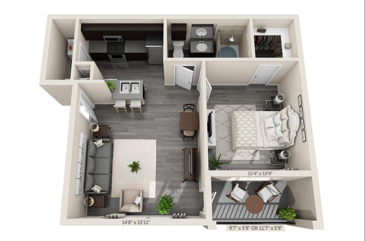 652 sq. ft. Aqua floor plan