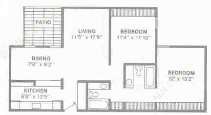 1,159 sq. ft. B6 floor plan