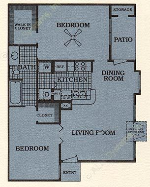 820 sq. ft. D w/FP floor plan