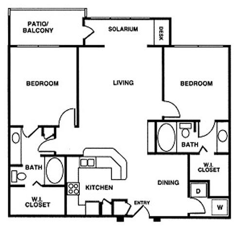 1,218 sq. ft. floor plan