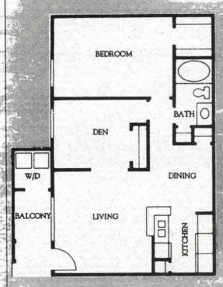 800 sq. ft. A-3 floor plan