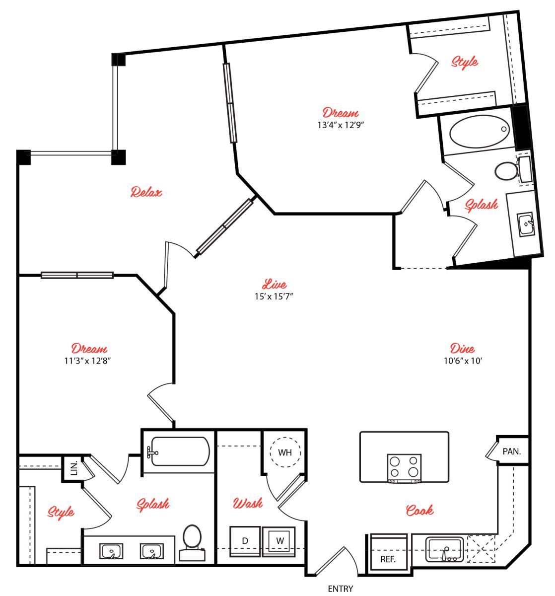 1,242 sq. ft. B3.1 floor plan