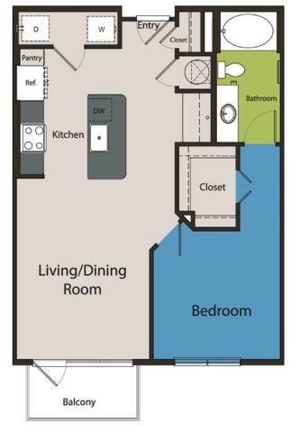 771 sq. ft. A1.2 floor plan
