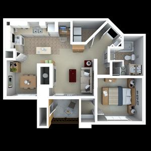 770 sq. ft. to 819 sq. ft. A5 floor plan