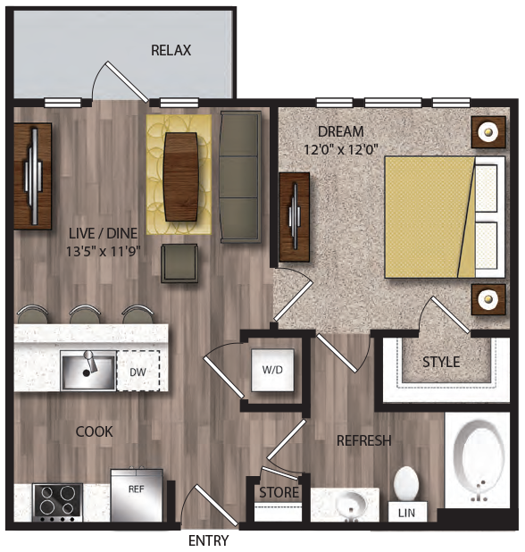 611 sq. ft. A1.1 floor plan