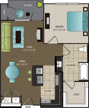 785 sq. ft. A4 ALT floor plan