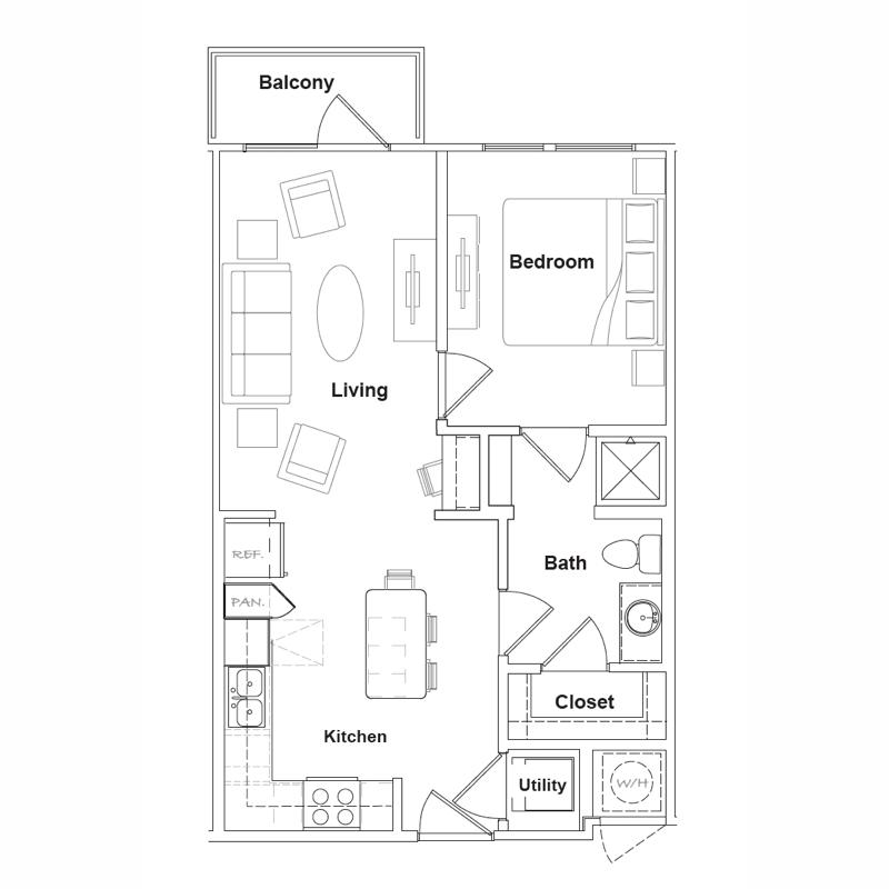 600 sq. ft. to 628 sq. ft. Alpine floor plan