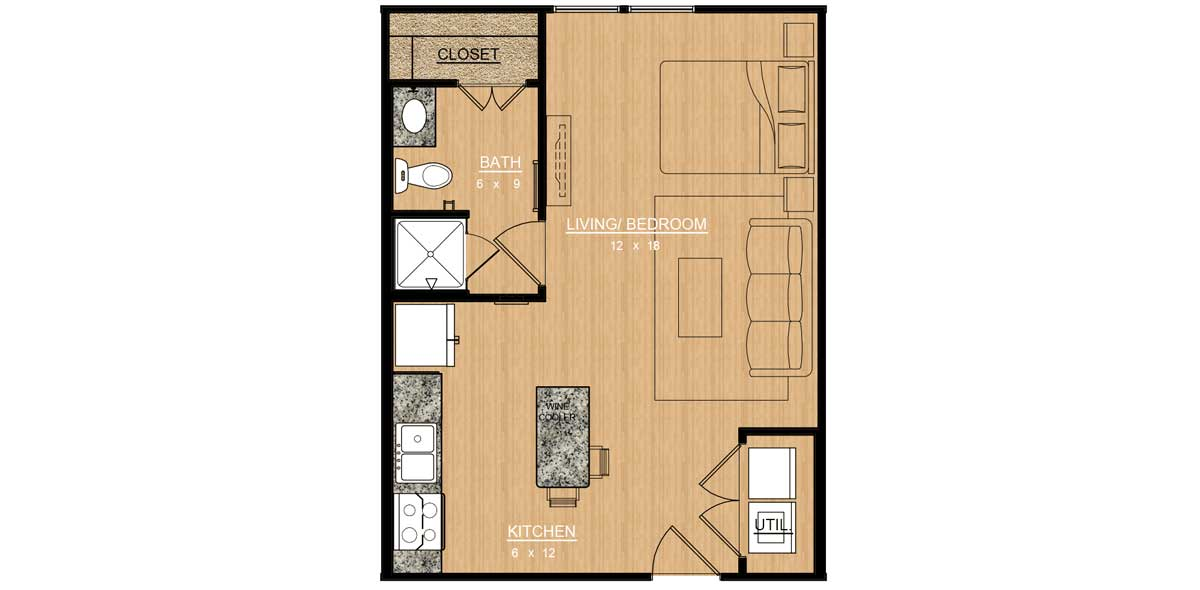 500 sq. ft. Orchid floor plan