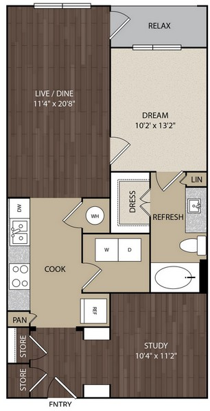 857 sq. ft. A6D floor plan