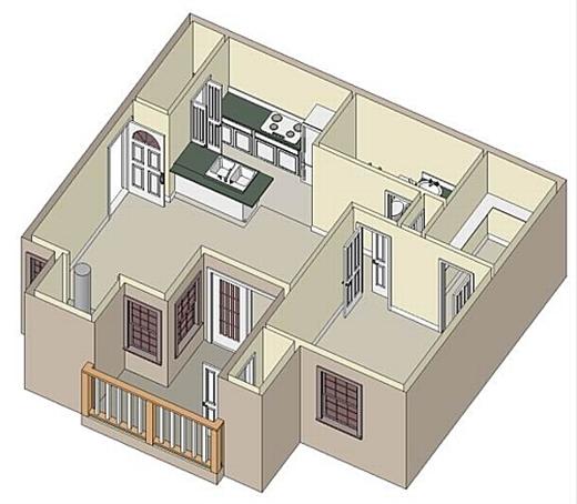 736 sq. ft. A3 Sunroom floor plan