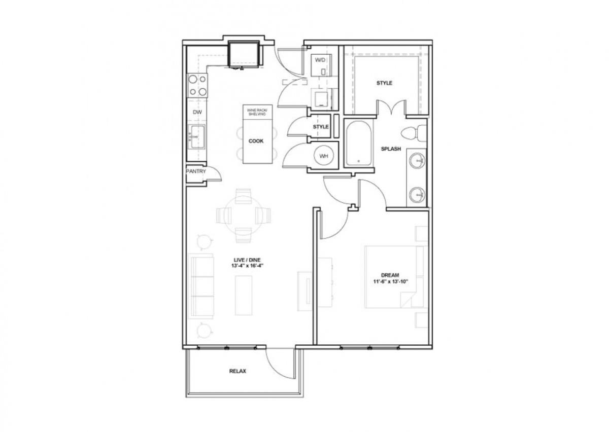 803 sq. ft. Design floor plan