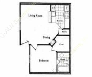 500 sq. ft. A2 floor plan