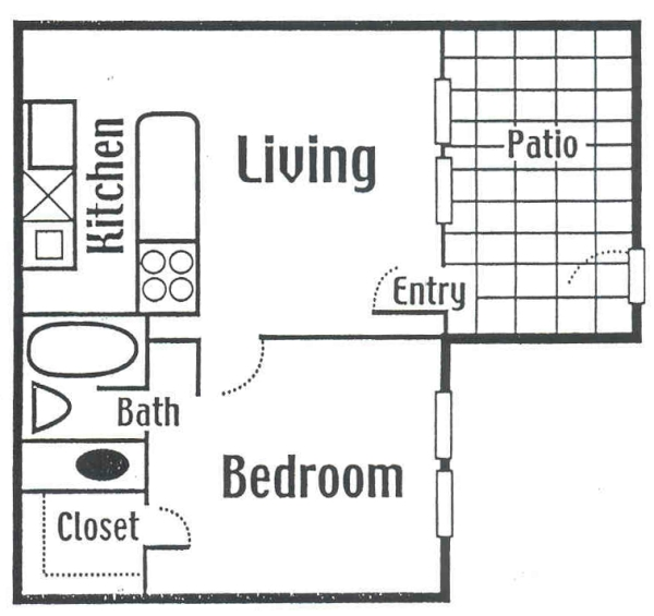 408 sq. ft. Small floor plan