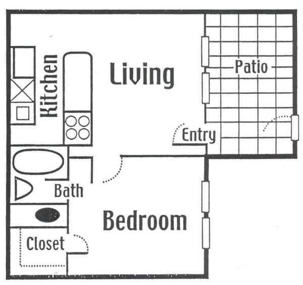 408 sq. ft. Small floor plan