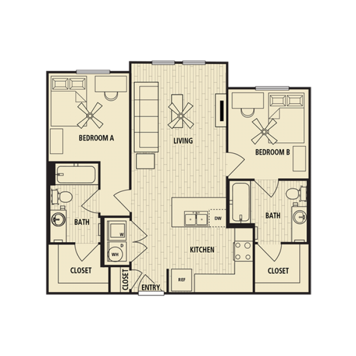 861 sq. ft. B1 floor plan