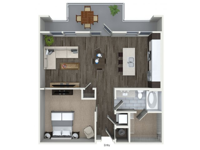 865 sq. ft. A3 floor plan