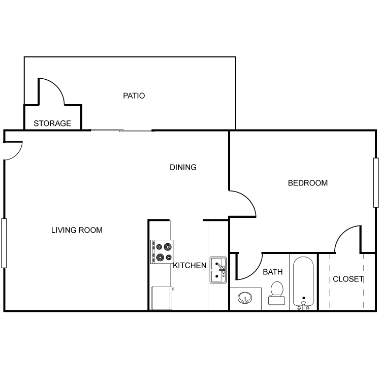 607 sq. ft. A1 floor plan