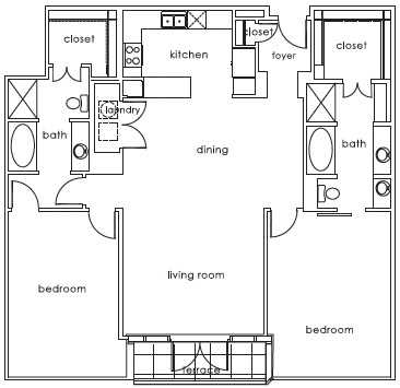 1,502 sq. ft. 1407 E floor plan