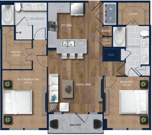 1,181 sq. ft. B1 floor plan