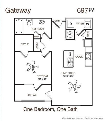 697 sq. ft. Gateway floor plan