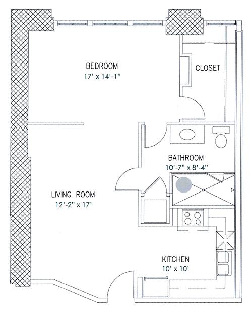 744 sq. ft. Lorna Doone floor plan