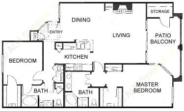 1,432 sq. ft. B1 floor plan