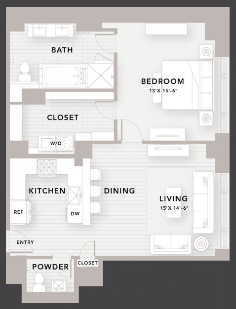990 sq. ft. B4 floor plan
