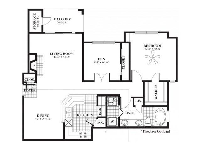 1,016 sq. ft. A5 floor plan