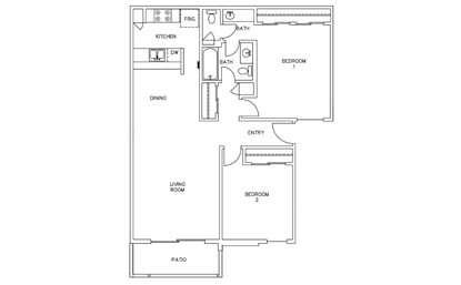 947 sq. ft. B2 floor plan