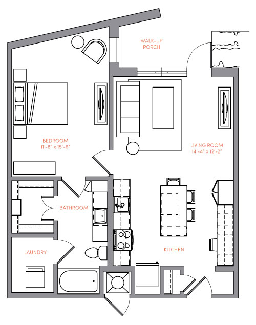 782 sq. ft. A2.2 floor plan