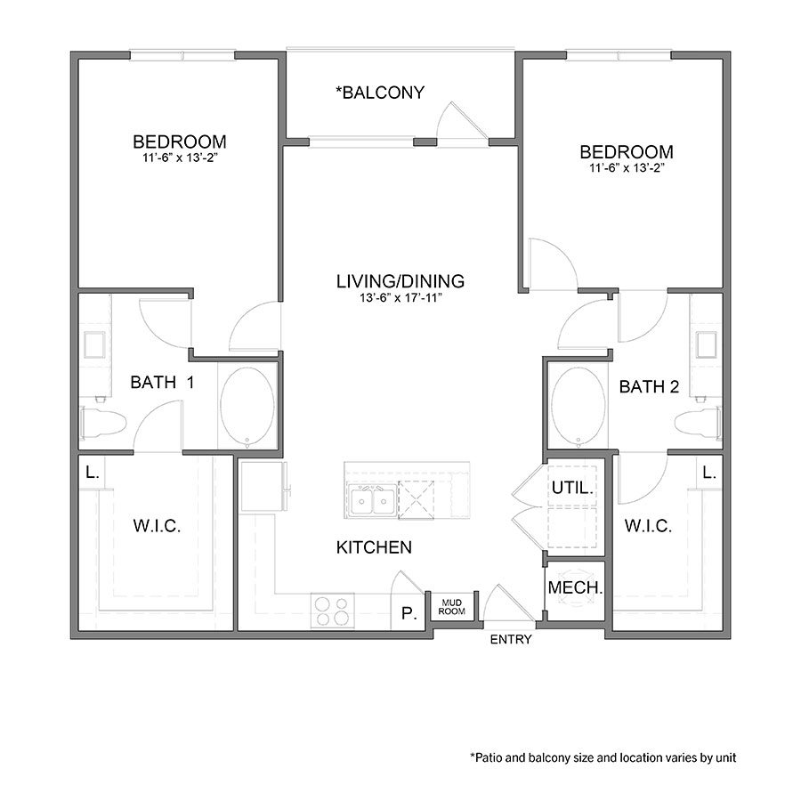 1,212 sq. ft. B4 floor plan