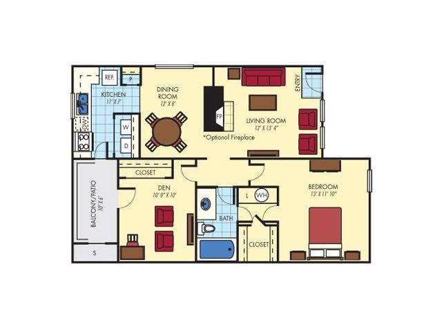 873 sq. ft. Sandwood (B1) floor plan