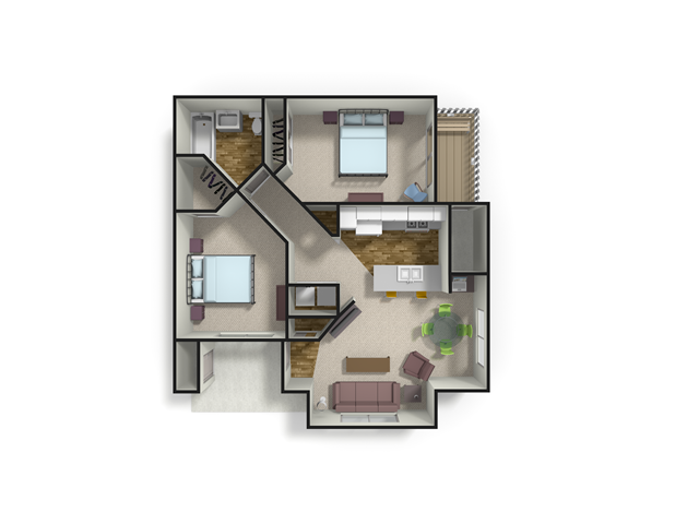 958 sq. ft. PINE floor plan