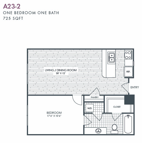 725 sq. ft. A23-2 floor plan