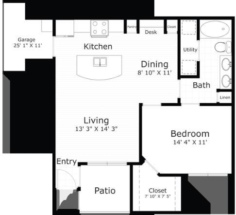 761 sq. ft. Newport floor plan