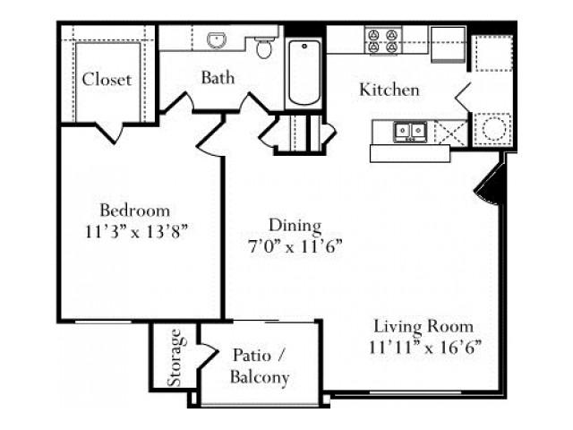 728 sq. ft. Gardenia floor plan