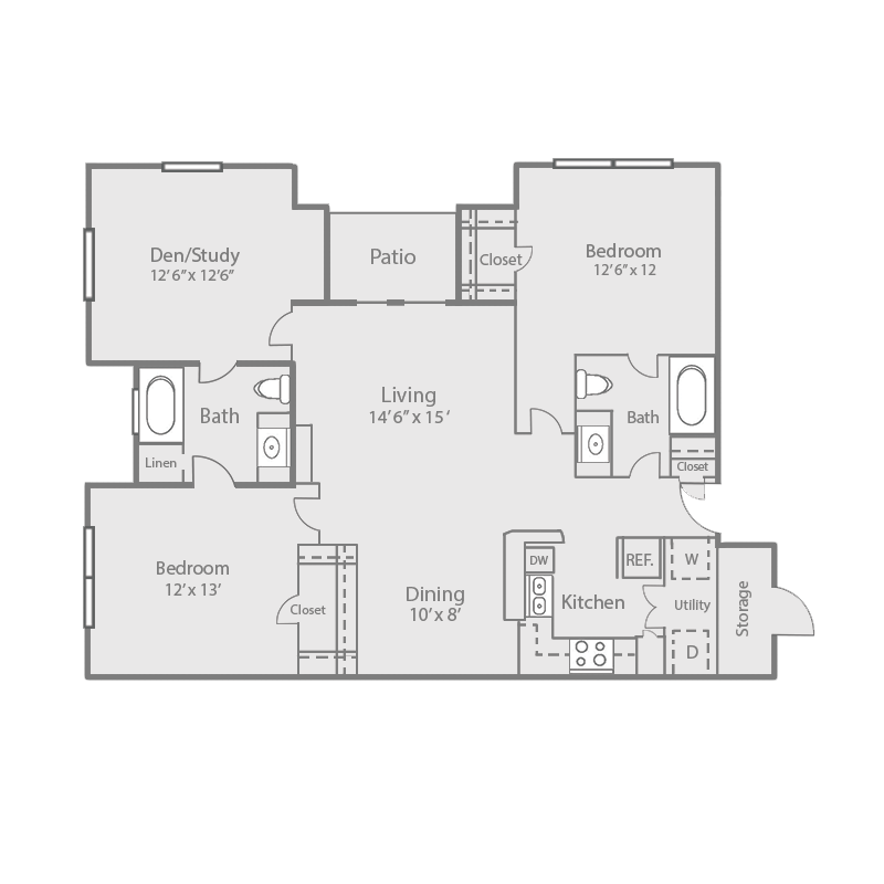 1,207 sq. ft. B3D/OAK floor plan